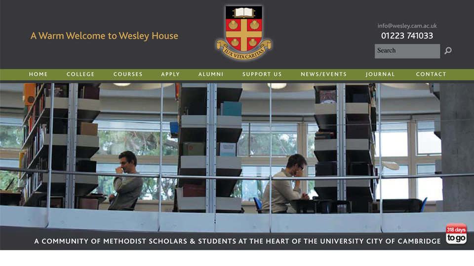 Wesley House College Cambridge website navigation