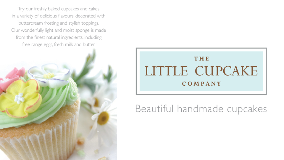 The Little Cupcake Company. Cambridge design agency, Cambridge photography, illustration, typography, Cambridge print, design, packaging, photography, advertising, printed materials, website design, 3D animation.