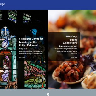 Website design and photography for Westminster College, Cambridge
